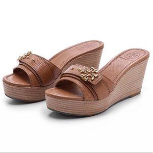 Tory Burch Elina Tan Wedge Sandal Mules Clogs